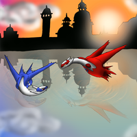 Latios and Latias Sunset by CosmicSprinkles