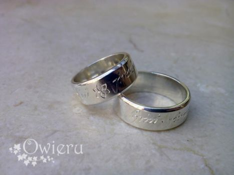 Elvish rings with Nenya symbol. by Nexogure