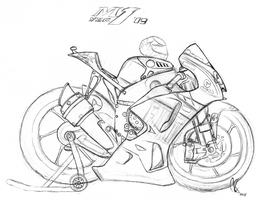 Yamaha YZR-M1 Rossi (2009) caricature sketch by RonvdS