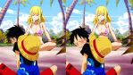 Luffy x Lucy At the Beach by xEllaSh