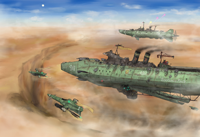Old-fashioned Carrier, destroyer and intercepters by AoiWaffle0608