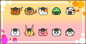 Onigiri- Animal styled by Kawaiidelicious-club