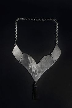 Hooked Aluminium and Leather Necklace by Shape-hunter