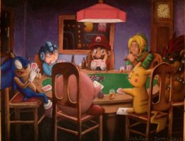 Videogame Poker: Painting by Pheoniic