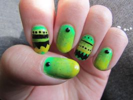 Neon Tribal Nails by QueenAliceOfAwesome
