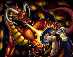 Beowulf and the Dragon by Kitsune-aka-Cettie