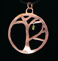 Copper Tree Pendant by chainmaille