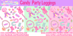 Candy Party Leggings Design Print by SweetiexCakes