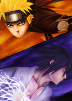 Naruto vs Sasuke [Collab] by D-Prodi3y