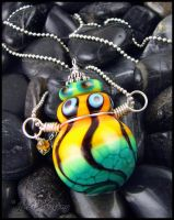 Electric Echoes - Lampwork Glass Bottle Pendant by andromeda