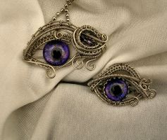 Dragon Eye Pendant and Ring Set - Purple Nebula by LadyPirotessa