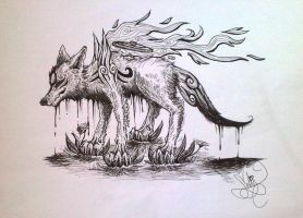 Amaterasu Ink Drawing by demenian