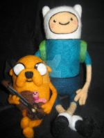 Needle Felted Finn and Jake from Adventure Time by CatsFeltLings