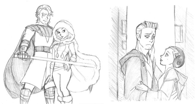 Anakin and Padme - Clone Wars micro serie sketch by KatyTorres