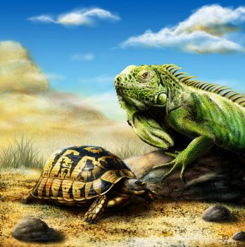Iguana and Turtle by Pixx-73