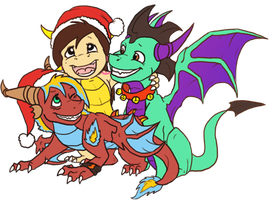 Chibi Xmas Dragons by Amirah-the-cat