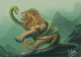 The Lion and the Snake by WildEllie