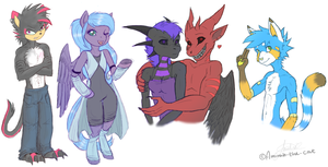 Sketchy anthros by Amirah-the-cat
