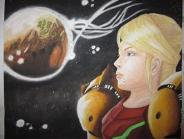 Samus Aran and Bryyo by NiennaSurion