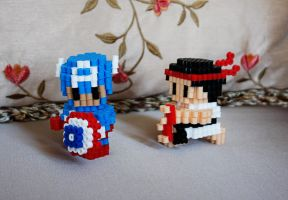 Perler Bead 3D Figures: Captain America and Ryu by MilkyBoutique