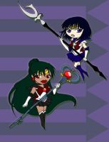 Sailor Pluto and Sailor Saturn by CL-Pinkskull