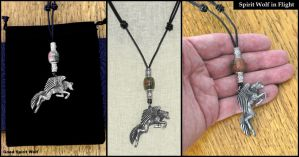 Spirit Wolf in Flight on Beaded Thong Necklace by GoodSpiritWolf