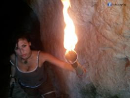 Lara Croft cosplay with torch - Tomb Raider Reborn by AdaCroft