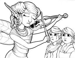 Musician for Coloring Book, page 2 by grimdrifter