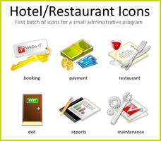 Hotel and Restaurant Icons by Flarup