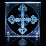 Edgelit Triskelion Cross etched glass by ImaginedGlass