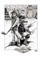 Raphael and Casey Jones by PedroLajud