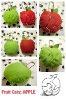 Apple Cat Plush Keychain by nekojizou