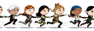 The Dragon Age 2 gang by saurien