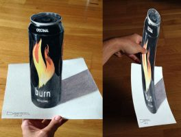 Burn Can Color Pencil Drawing by AtomiccircuS