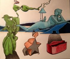 Film projector and star fruit by JonOwens