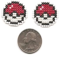 Pokeball Post Earrings by Sew-Madd