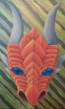 Orange Dragon Face in Acrylic by kareokelidescope