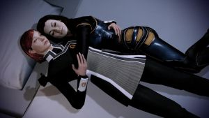 Shepard with her Love Miranda by Revan654