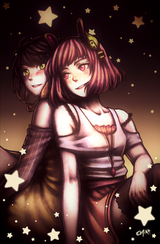 Under the starry sky - Eniru and KPLA by E-Mika-Zg