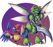 Pokemon - Scyther and Archen by ZaidaCrescent