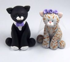 Tuxedo Cat and Tabby Wedding Cake Topper by HeartshapedCreations