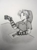 Link drinking coffee by TheCloudchaser