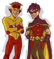 Robin + Kid Flash by stehfuhknee