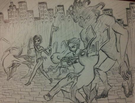 Fred and Jean Fighting Heartless by Derf0007