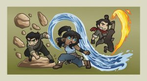 Legend of Korra - Chibi Bending by vesparada