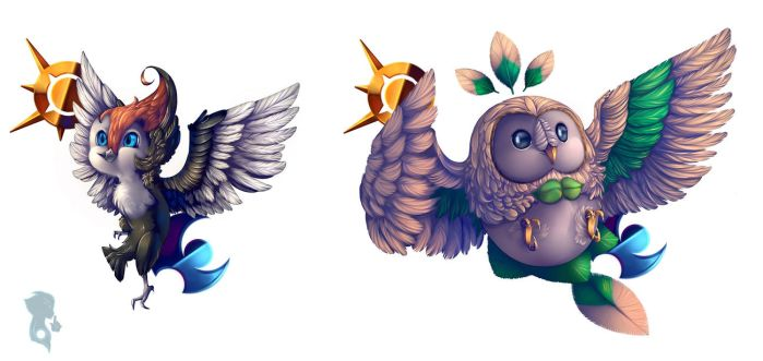 Poke-Birbs: Pikipek and Rowlet by SubliminalPeacock