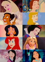 Disney Princesses and their happy moments by Midnightrosesblood
