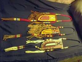 Beaded Quilled Knife Sheaths by dantestitch
