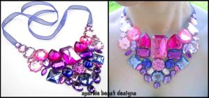 Pink and Purple Bib Necklace by Natalie526