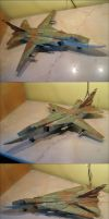 Precise card model: Su-24 ground attack plane by xaotherion